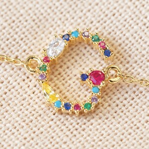 Rainbow Crystal Initial Bracelet in Gold - G