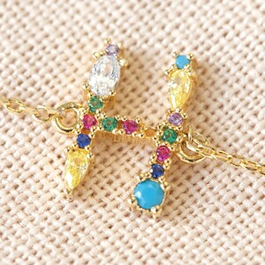 Rainbow Crystal Initial Bracelet in Gold - H