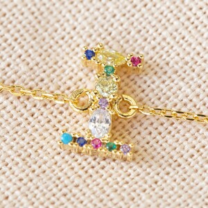 Rainbow Crystal Initial Bracelet in Gold - I