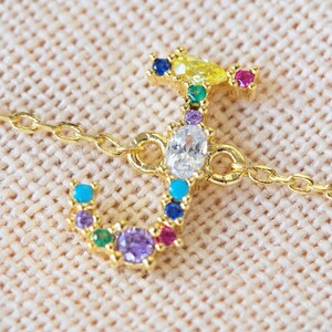 Rainbow Crystal Initial Bracelet in Gold - J