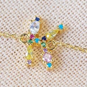 Rainbow Crystal Initial Bracelet in Gold - k