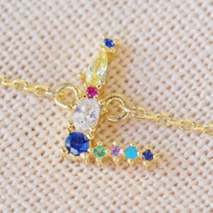 Rainbow Crystal Initial Bracelet in Gold - L