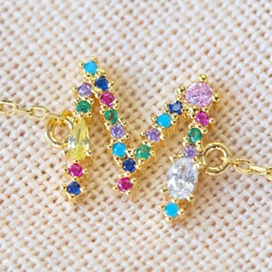 Rainbow Crystal Initial Bracelet in Gold - M