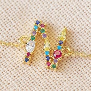Rainbow Crystal Initial Bracelet in Gold - N
