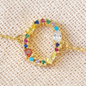 Rainbow Crystal Initial Bracelet in Gold - O