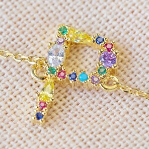 Rainbow Crystal Initial Bracelet in Gold - P