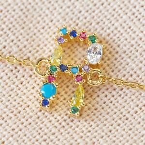 Rainbow Crystal Initial Bracelet in Gold - R