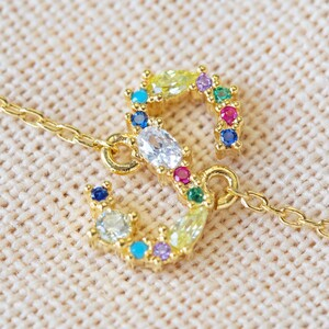 Rainbow Crystal Initial Bracelet in Gold - S