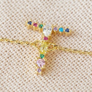 Rainbow Crystal Initial Bracelet in Gold - T