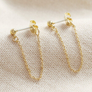 Ball Stud and Chain Earrings in Gold