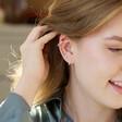 Model Wearing Lisa Angel Ladies' Chunky Chain Ear Cuff in Silver