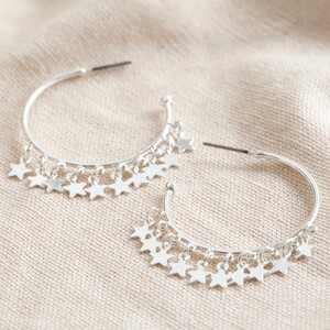 Dangly Star Charm Hoop Earrings in Silver