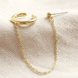 Ear Cuff and Chain Stud Earring in Gold
