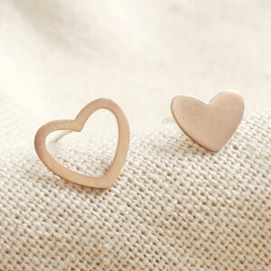 Rose Gold Sterling Silver Mismatched Heart Stud Earrings