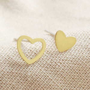 Gold Sterling Silver Mismatched Heart Stud Earrings