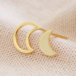 Mismatched Moon Earrings in Gold