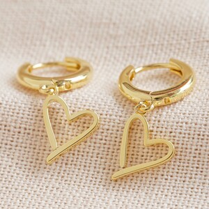 Signature Heart Huggie Earrings in Gold