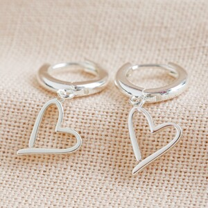 Signature Heart Huggie Earrings in Silver