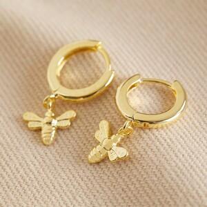 Tiny Bee Huggie Hoop Earrings in Gold