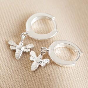 Tiny Bee Huggie Hoop Earrings in Silver