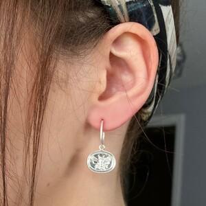 Wax Seal Bee Charm Hoop Earrings in Silver