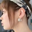 Wide Double Chain Hoop Earrings in Silver on Model