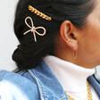 Gold Chain Hairslide on Model