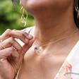Model Wears Lisa Angel Ladies' Pressed Flower Heart Pendant Necklace in Gold