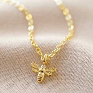Tiny Bee Charm Choker Necklace in Gold
