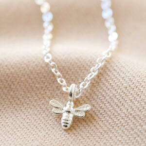 Tiny Bee Charm Choker Necklace in Silver