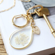 Women's Personalised Pressed Real Flower Charm Keyring in Gold