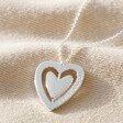 Women's Personalised Spinning Heart Pendant Necklace in Silver