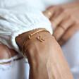 Ladies' Rainbow Crystal Initial Bracelet in Gold on Model