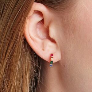 Rainbow Huggie Hoop Earrings in Gold