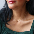 Tiny Bee Charm Choker Necklace in Gold on Model