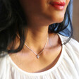 Tiny Bee Charm Choker Necklace in Silver on Model