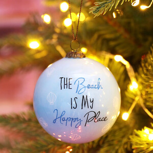 Hand-Painted 'The Beach is My Happy Place' Bauble