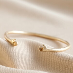 Adjustable Gold Hug Hands Bangle