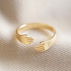 Adjustable Gold Hug Hands Ring