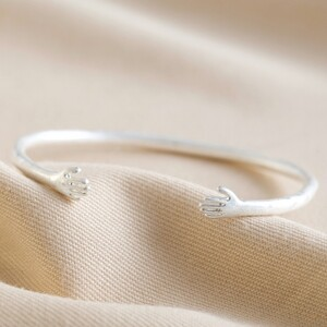 Adjustable Silver Hug Hands Bangle