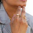Gold Sterling Silver Gemstone Ring on Model
