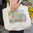 Model with Lisa Angel Colourful Owen Mathers Illustrated Norwich Market Tote Bag