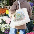 Lisa Angel Colourful Owen Mathers Illustrated Norwich Market Tote Bag on Model