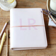 Lisa Angel Ladies' Personalised Gingham Initials Pink Faux Leather Refillable Notebook