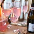 Lisa Angel Delicate Gold Rimmed Pink Champagne Glass
