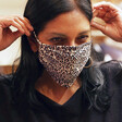 Leopard Print Fabric Face Mask on Model