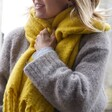 Mustard Recycled Oversized Scarf on Model