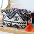 Lisa Angel with House of Disaster Fiesta Monochrome Embroidered Jacquard Make Up Bag