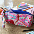 Lisa Angel Ladies' House of Disaster Fiesta Pink Embroidered Jacquard Pouch