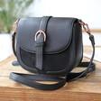 Lisa Angel Ladies' Black Vegan Leather Crossbody Handbag